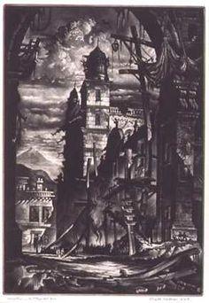 Demolition of the Plaza Del Toro, mezzotint of cathedral  by Reynold Weidenaar