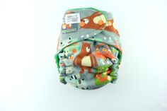 One Size Fitted Cloth Diaper 8-35 lbs with Heavy Organic Bamboo Fleece and Cotton Velour - T&T  - Woodland Animals Flannel Print