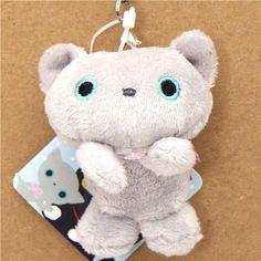 Kutusita Nyanko grey cat plush cellphone charm