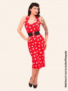 1950's Halterneck Pencil Red Sweetheart Dress