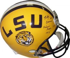 Billy Cannon signed Full-Size Replica Helmet with Heisman Trophy 1959  amp   HOF Inscriptions a2659ddf6