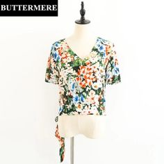 BUTTERMERE Floral Printed Blouses 2017 Women Deep V Lace Up Blouse Sexy Backless Tunic Short Top Women Elegant Tops With Belt #Affiliate