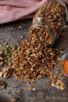 Small batch Pumpkin Spice Granola, the perfect amount if you're cooking for one or two. Satisfy your pumpkin spice craving with this easy recipe. | One Dish Kitchen | onedishkitchen.com
