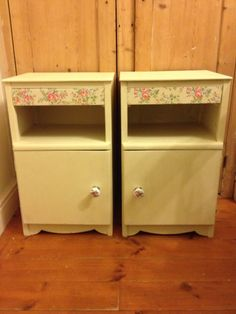 Amazing what a lick of paint some new handles and some floral decoupage can do! Annie Sloan Chalk Paint, Decoupage, Stool, Canning, Amazing, Floral, Projects, Home Decor, Log Projects