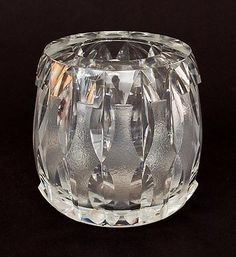Found on www.botterweg.com - Dikwandige helderglazen vaas met geëtste verticale decoratie ontwerp A.D.Copier 1947 Glasschool uitvoering Glasfabriek Leerdam