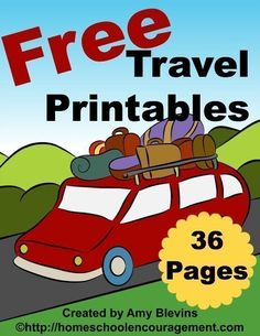 Traveling with children soon? Free Travel Printables for Kids - I've created a small set of free travel printables for you — 36 pages — with activities, coloring pages, writing prompts, and notebooking pages in three line styles. Kids Travel Activities, Road Trip Activities, Road Trip Games, Fun Activities, Preschool Themes, Road Trip With Kids, Family Road Trips, Travel With Kids, Family Travel