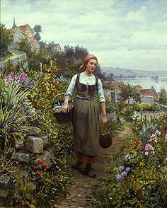 Le Dejeuner by Daniel Ridgway Knight - 22 x 18 inches Signed and inscribed Paris paris salon french academic genre rolleboise women in gardens figures figurative flowers