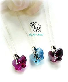 Flowergirl Jewelry, Butterfly Necklace, Choice of Color, Personalized Flower Girl Jewelry, Flowergirl Gift, Butterfly Jewelry, Gift for Girl   KyKy's Bridal, Handmade Bridal Jewelry, Wedding Jewelry