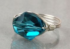 (4) Fancy - Wire Wrapped Sterling Silver Ring With Indicolite Swarovski Crystal- Custom Made To Size on Luulla
