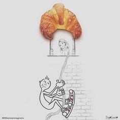 """#buongiorno  Ecco la sorpresa di cui vi parlavo ieri sera! Lui si chiama @didi_amicoimmaginario un fantastico pupetto, guardate la gallery è fichissima! Grazie per questa unione di fantasia per me è la prima volta che faccio un """"duetto"""" illustrato! Spero che vi piaccia e vi auguro un dolce #buongiorno a tutti!  #didiamicoimmaginario #diegocusano #cornetto #colazione #goodmorning #rapunzel #disney #foodart #illustratori #illustrazioni #fantasia #fantasy"""