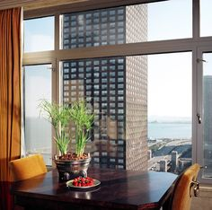 Lake Shore Drive Condo::Deb Reinhart Interior Design Group:: dining room, city view, chicago