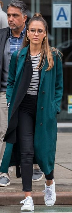 Who made Jessica Alba's green coat and white sneakers?