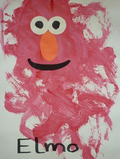 Elmo ~ My preschoolers (2yrs) easel painted with red paint...glued on the face and it's Elmo.  They were all very cute and different depending on how and how much they painted.