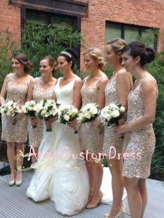 Sheath Straps Silver Gold Sequin Short Bridesmaid Dress
