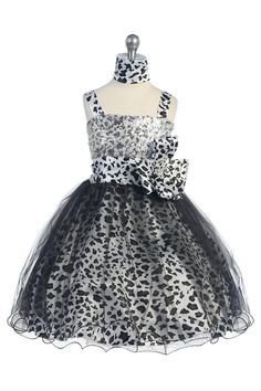 A gorgeous animal printed shiny satin puffy dress that covered with tulle material