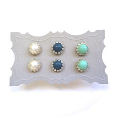 Mint, Navy, Ivory Stud Earrings - Set of Three Pairs of Post Earrings - Gift Idea