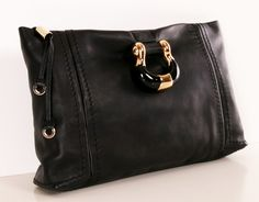 A fabulous black leather clutch from Jimmy Choo