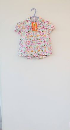 Summer outfit , button down shirt and bloomers/shorts for a one year old.Michael Miller busy bee fabric. by DottyBirdKidsClothes on Etsy