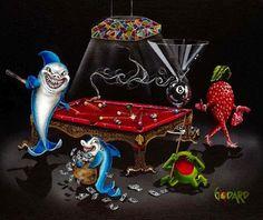 """""""Pool Shark by Michael Godard – Art Center Gallery Club Sportif, Godard Art, Duck Art, Michael Art, Thing 1, Wow Art, The Victim, Art World, Shark"""