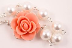Bridal Jewelry Coral Spice Beauty Rose and Pearl by AnnsCrafts, $20.00