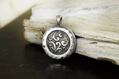 Floral Metal Pattern Pendant Ethnic Tribal Antique Silver