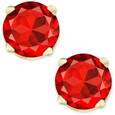 Garnet Stud Earrings in 14k Gold (1 ct. t.w.) (€75) ❤ liked on Polyvore featuring jewelry, earrings, no color, gold stud earrings, 14k jewelry, 14 karat gold earrings, yellow gold stud earrings and gold jewellery