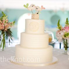 Love bird cake topper on white monogram wedding cake // Photographer:The Schultzes // Cake: Maxie B's