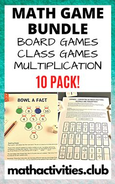 Math Game Bundle containing 10 games to enhance your students learning of math. Great for upper elementary and middle school students.  Math games are a great way to engage all students and allow your students to practice their math in a fun way. Some of the games in this unit are best played in pairs while others can be played as a whole class. Dice and counters may be required for some games. Games range from board games, to math class games, and multiplication activities.