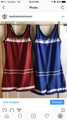 Red and blue one-piece swimsuits. Vintage 1920s style.