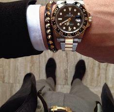 Luxury men fashion , rolex watch , hermes belt