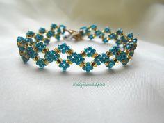 Teal and gold bracelet aquamarine blue green by EnlightenedSpirit