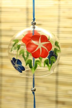 Japanese Wind Bell Furin Wind Chime Morning Glory Summer Glass  | eBay