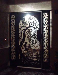 METAL GATE WITH PANELS ON SALE ORNAMENTAL CUSTOM  ART  DESIGNER IRON GARDEN