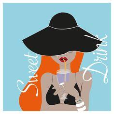 femme, illustration mode, illustration femme, femme été, bikini, chapeau, cocktail