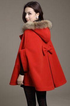 Red Fur Hooded Tweed Cloak Winter Coat