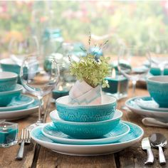 Give your dinnerware collection a vibrant hue with our Fez Turquoise Medallion Dinnerware Set. A stunning finish makes this fantastic dining set addition. & Eclectic Dinnerware Set for Eight in Turquoise and White   Dishes ...