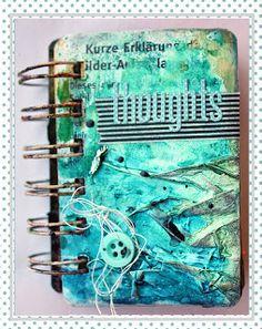 Thoughts mini album by Riikka Kovasin using tarot cards and mixed media