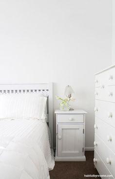 For the master bedroom, Chris chose Resene Black White, a grey-based neutral. Neutral Color Scheme, Colour Schemes, Interior Paint Colors, Paint Colours, Interior Design, Open Plan Kitchen, Room Paint, Exterior Colors