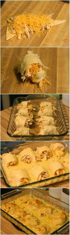 Chicken Roll Ups - super simple. Crescent Rolls, shredded cheese, canned chicken, 1 can of cream of chicken soup. bake @ 375* in the oven.