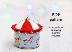 Carousel Cross Stitch Christmas Ornament. Christmas Cross Stitch Pattern. Modern…