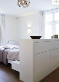Idee divider slaapkamer en ertegenaan   bad of kleedkamer