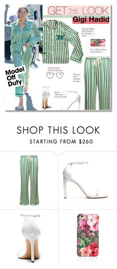"""Get the look: Gigi Hadid"" by sunshineb ❤ liked on Polyvore featuring Morgan Lane, Stuart Weitzman, Garrett Leight and Gucci"