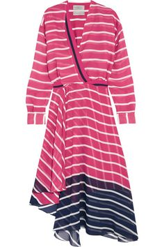 Pink, navy and white silk-chiffon Slips on  100% silk  Dry clean