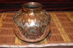 "Beautiful Hand Hammered Copper Vase Silver/Copper Inlay  5""x4 1/2"""