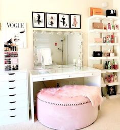 makeup room decor Vanity with lights and chair , shelves Cute Room Decor, Teen Room Decor, Room Ideas Bedroom, Bedroom Decor, Bedroom Small, Bed Room, Bedroom Furniture, Beauty Room Decor, Makeup Room Decor