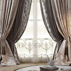 Image may contain: table and indoor Living Room Decor Curtains, Gold Bedroom Decor, Home Curtains, Curtains With Blinds, Classic Curtains, Elegant Curtains, Luxury Curtains, Velvet Curtains, Rideaux Design