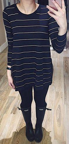 #winter #fashion / Black Striped Knit / Black Skinny Jeans / Black Boots