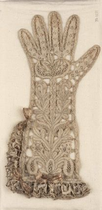 Woman's bobbin lace glove, Italian, about Main design is a conventionalized plant form. Brides connect with outline of glove. Double ruffle along top and half one side of glove. Remains of faded stiff pink ribbon bows (trimming). Antique Lace, Vintage Lace, Vintage Dresses, Vintage Outfits, Vintage Fashion, Historical Costume, Historical Clothing, Vintage Gloves, Textiles