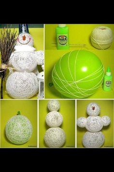 String snowman....string, balloon, decoration, snow, winter, christmas, glue!