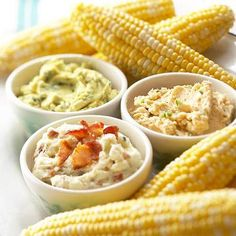 3 flavored butters: Lemon-Parsley Butter, Gorgonzola-Bacon Butter & Serrano Chile Butter. Perfect for sweet corn!    Recipes: http://www.midwestliving.com/recipe/vegetables/buttery-corn-on-the-cob